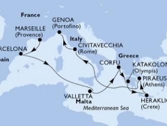 10 Noches por Francia, España, Malta, Grecia, Italia a bordo del MSC Orchestra
